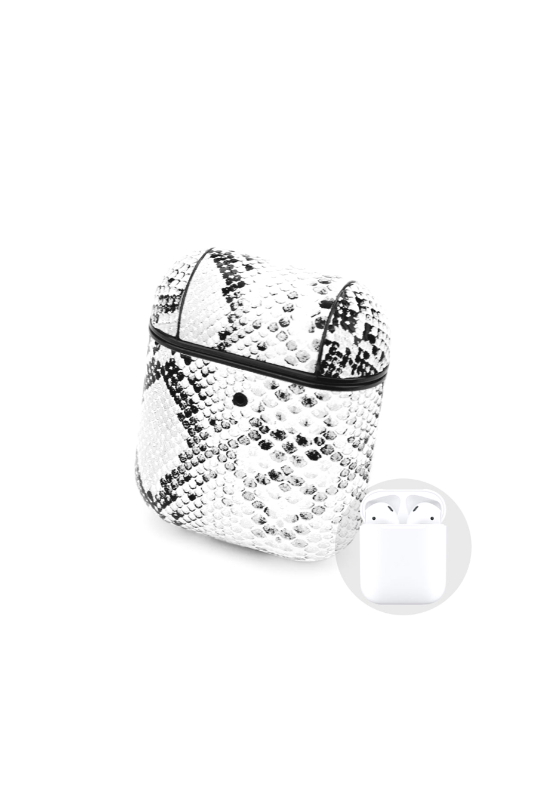Private Label Python Pattern Air Pod Case/key chain - Front Cropped Image