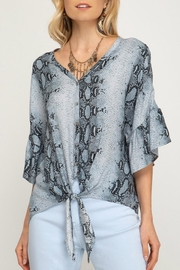She + Sky Python Print Tie-Front - Product Mini Image