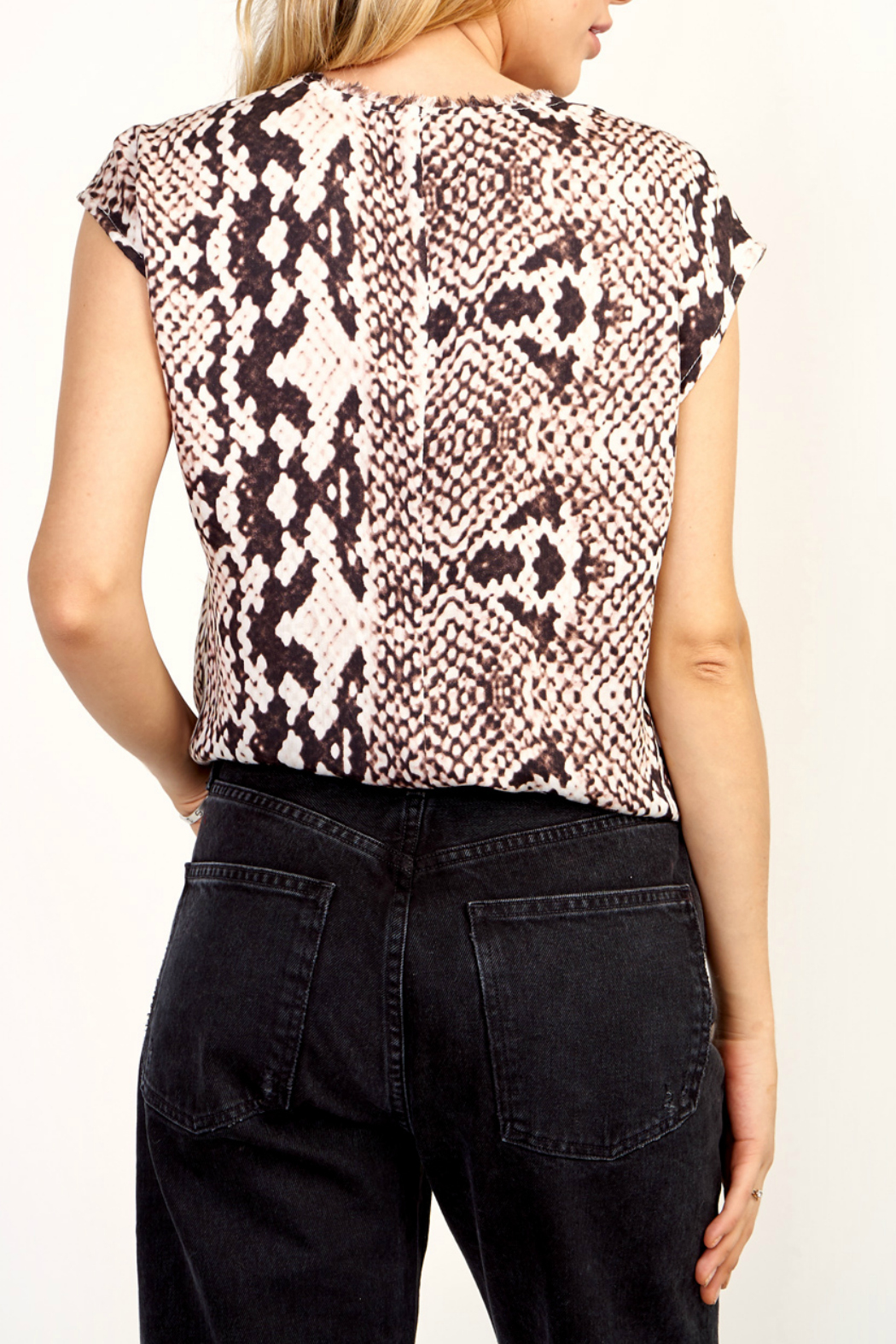 Olivaceous Python print top - Side Cropped Image