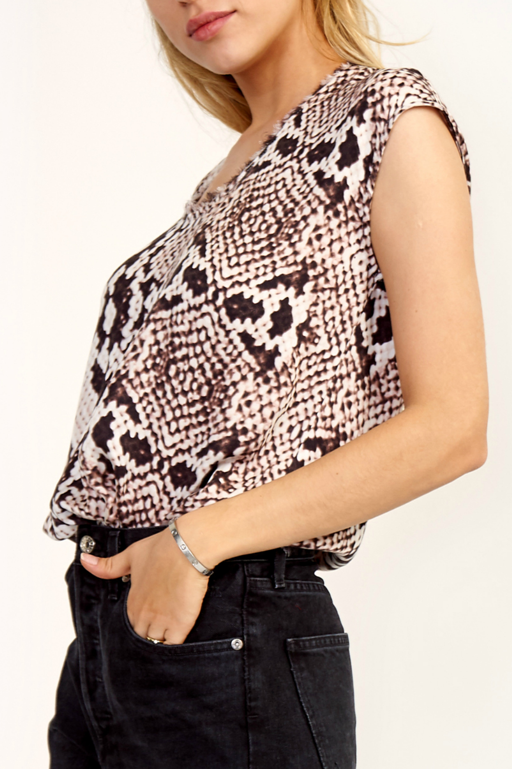 Olivaceous Python print top - Front Full Image