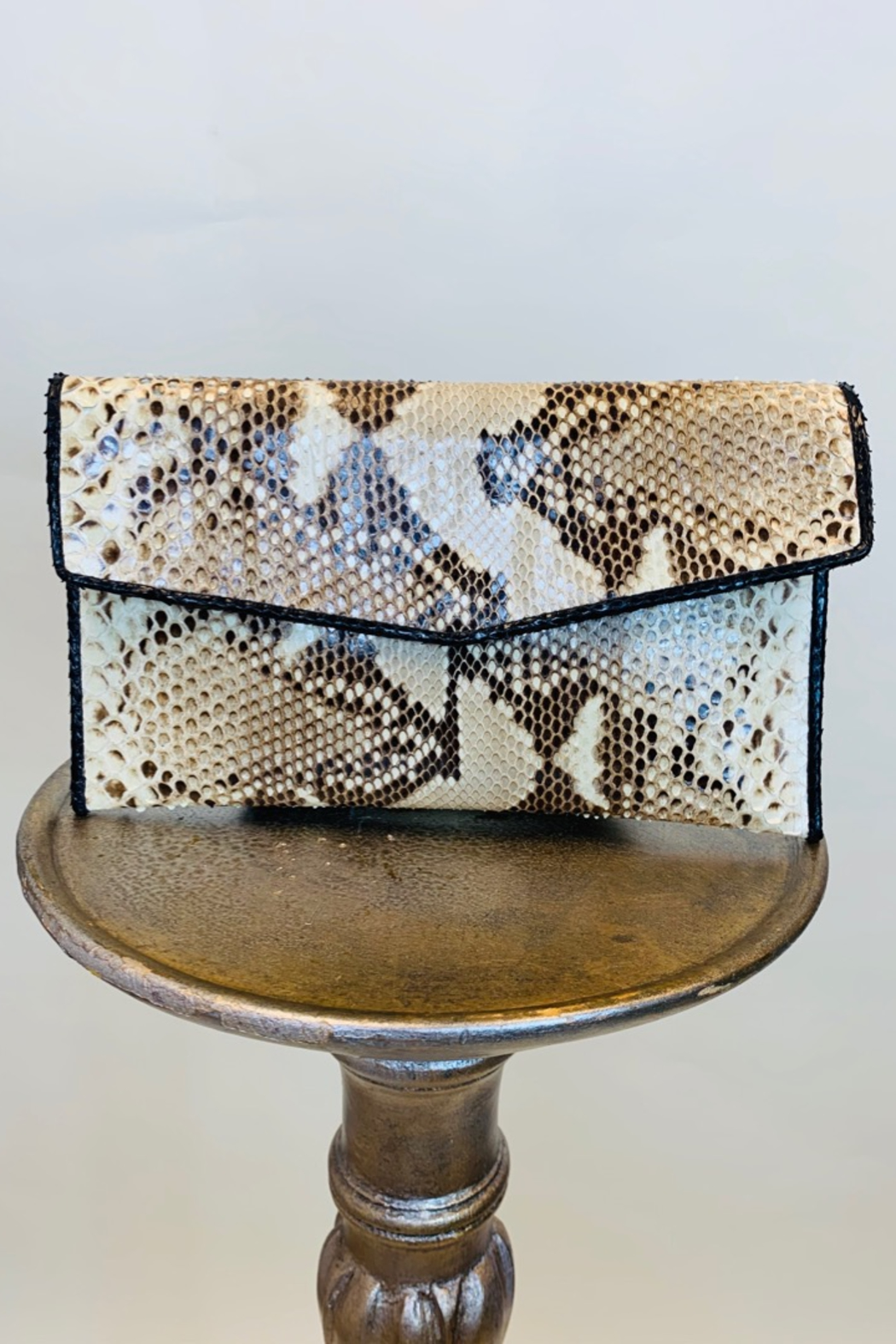 CANDY WOOLLEY PYTHON SKIN CLUTCH - Main Image
