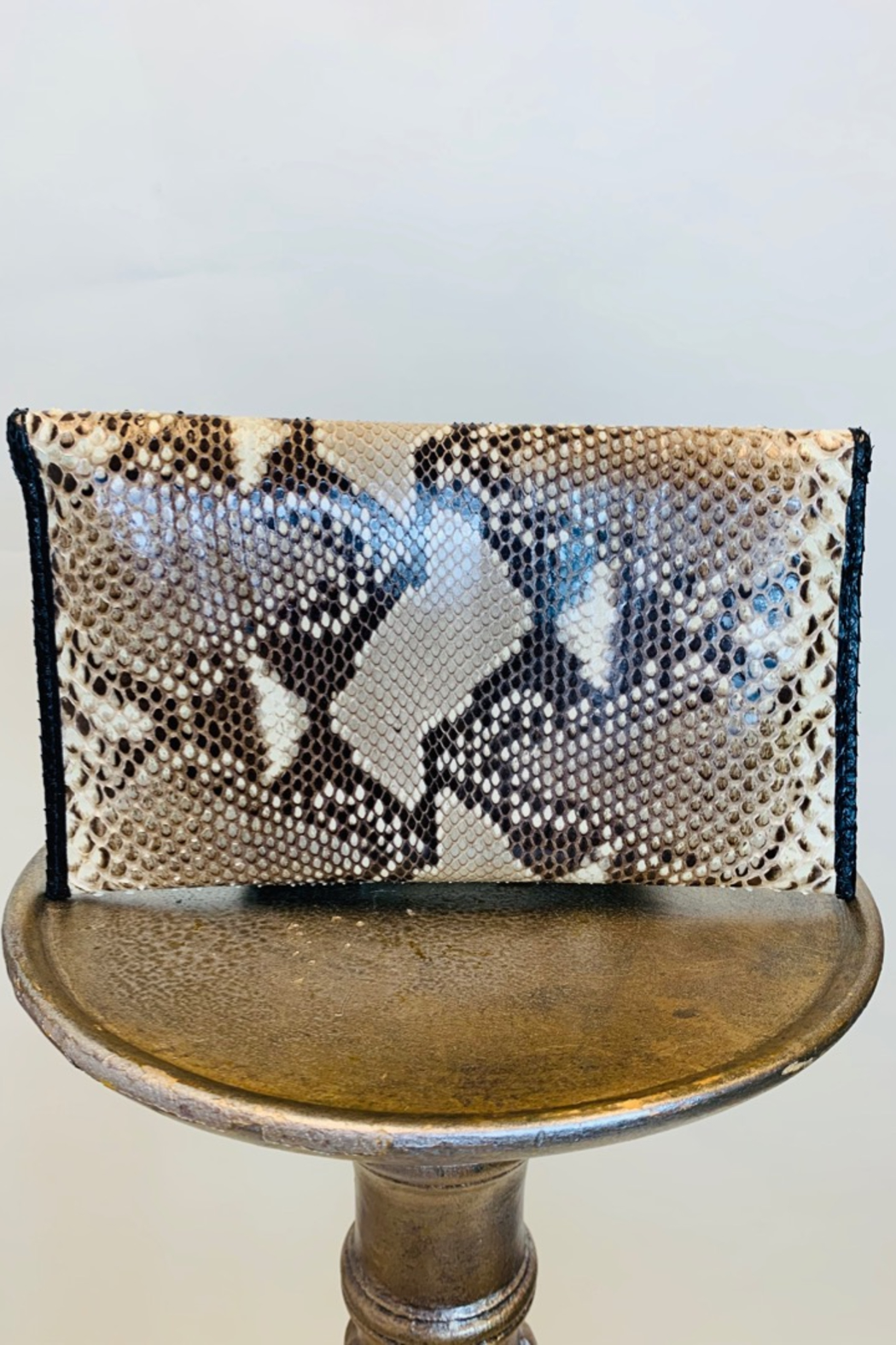 CANDY WOOLLEY PYTHON SKIN CLUTCH - Front Full Image