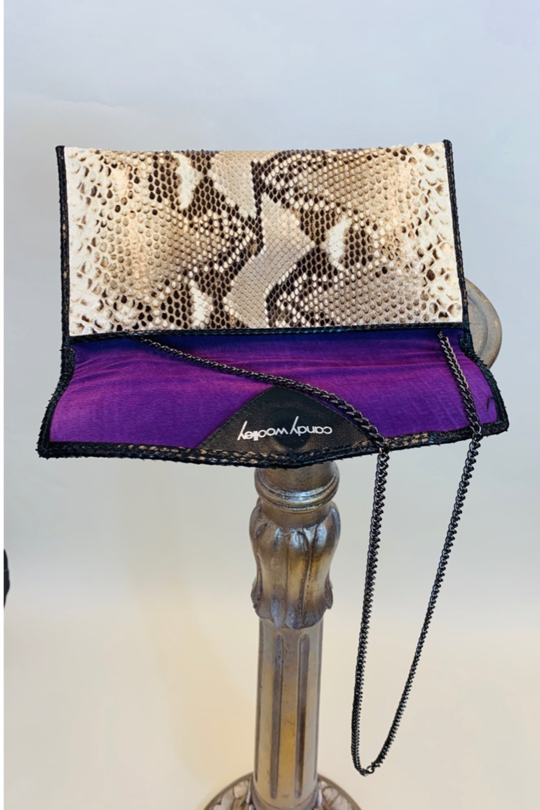 CANDY WOOLLEY PYTHON SKIN CLUTCH - Side Cropped Image