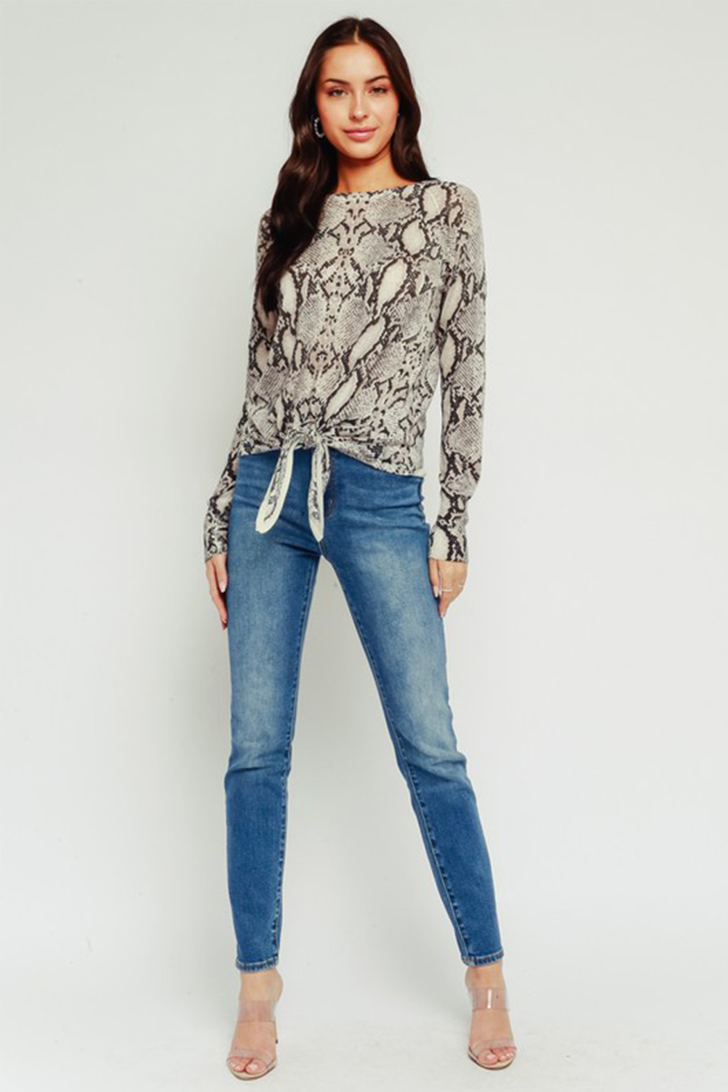 Olivaceous Python Tie Top - Back Cropped Image