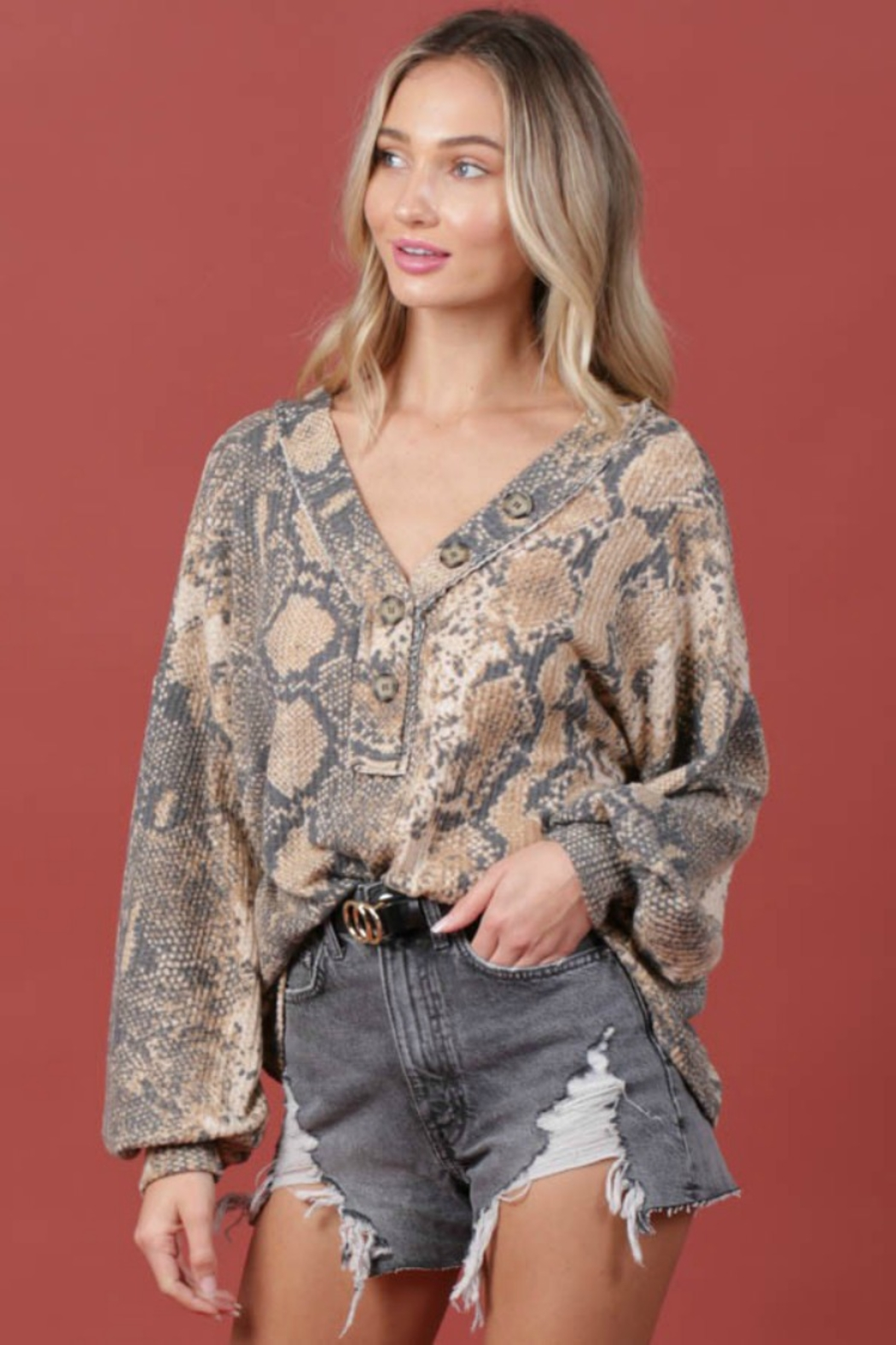 Blue Buttercup Snake Printed Fake Button Waffle Top - Front Cropped Image