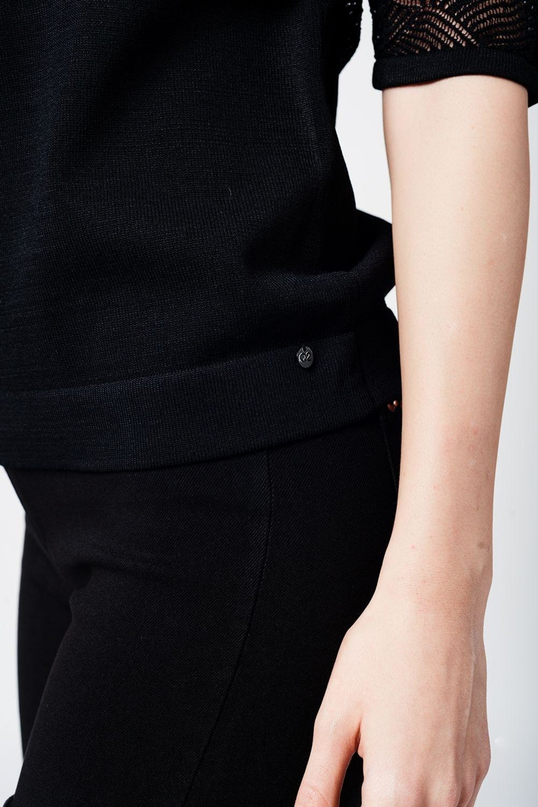 Q2 Black Knit Top - Back Cropped Image