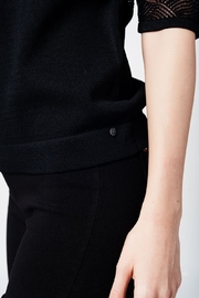 Q2 Black Knit Top - Back cropped
