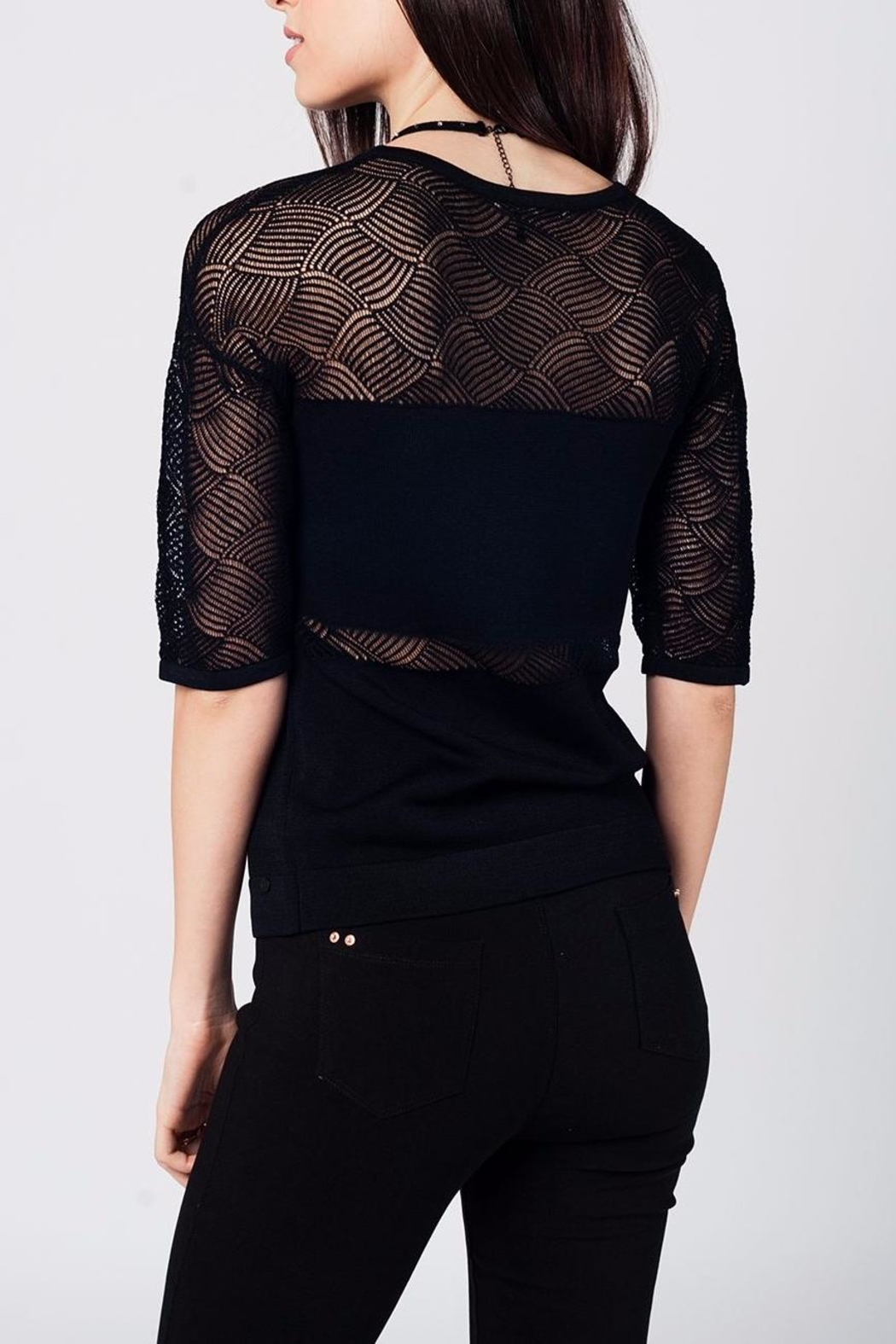 Q2 Black Knit Top - Front Full Image