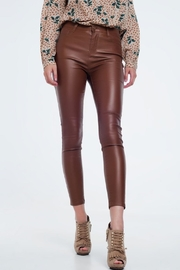 Q2 Brown Leather Pants - Front cropped