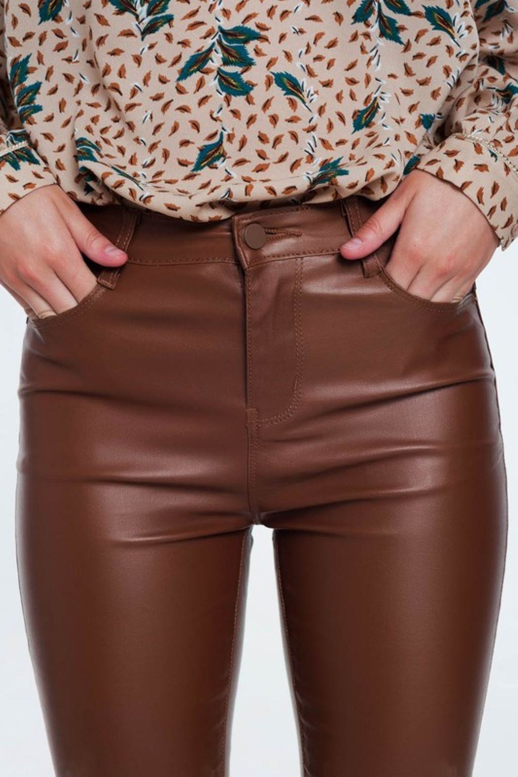 Q2 Brown Leather Pants - Side Cropped Image