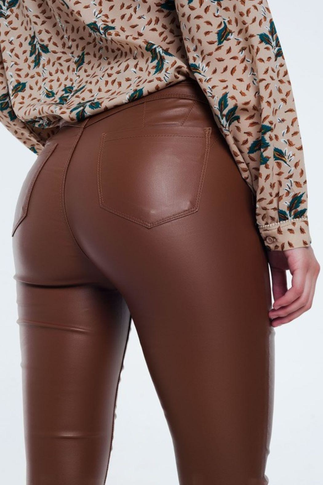 Q2 Brown Leather Pants - Back Cropped Image