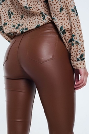 Q2 Brown Leather Pants - Back cropped