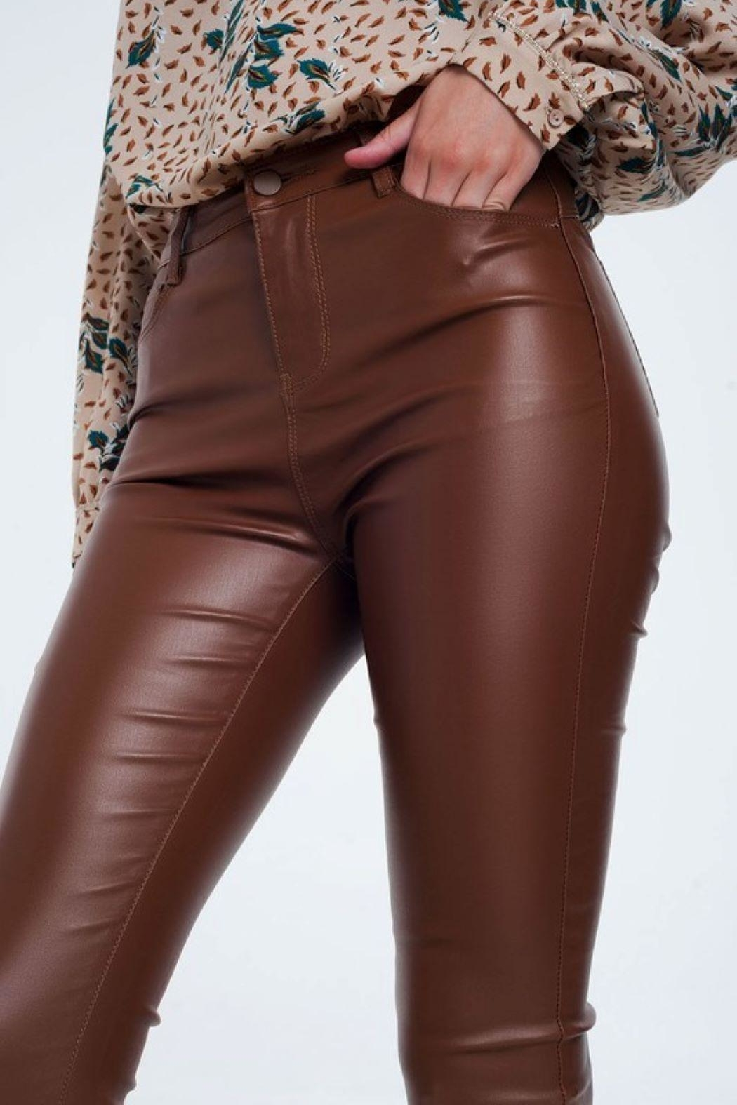 Q2 Brown Leather Pants - Front Full Image
