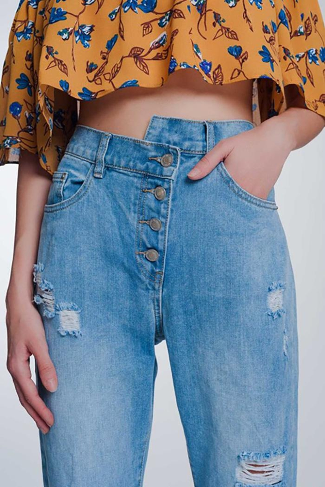 Q2 High Waist Mom Jeans With Button Fron - Front Full Image
