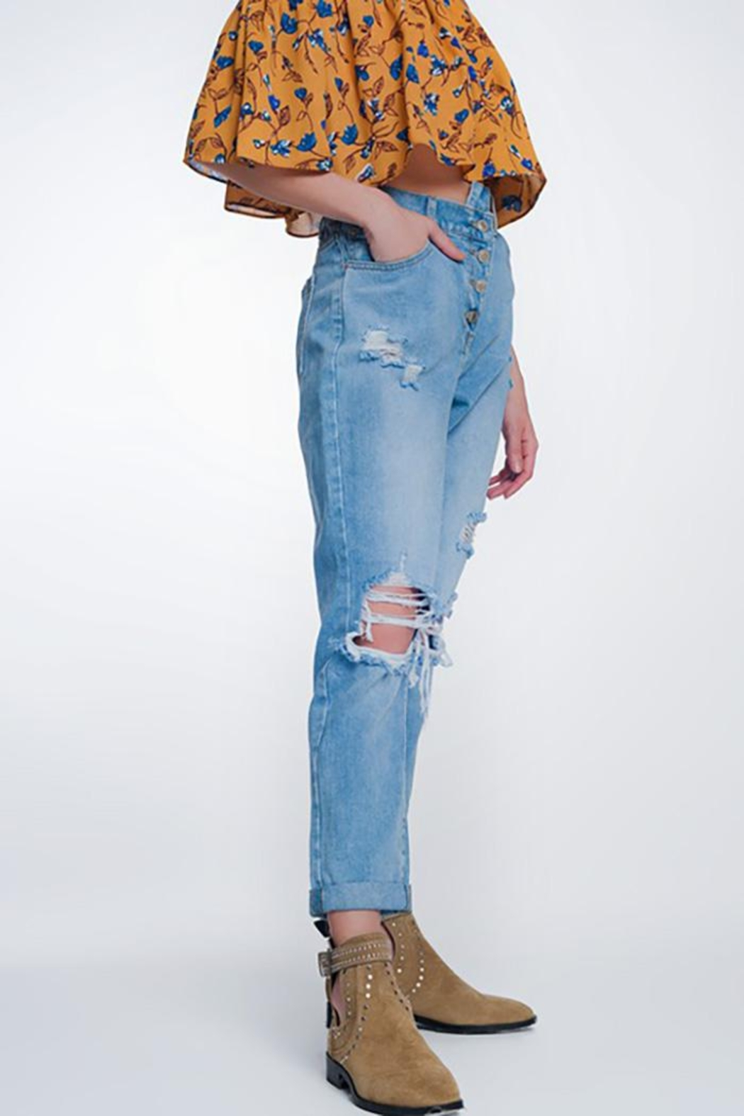 Q2 High Waist Mom Jeans With Button Fron - Main Image