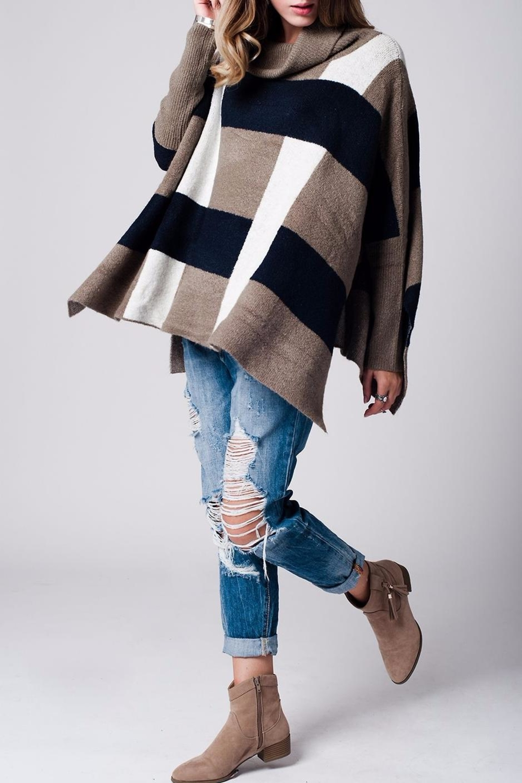Q2 Plaid Poncho Sweater from San Francisco by Marvy Fashion