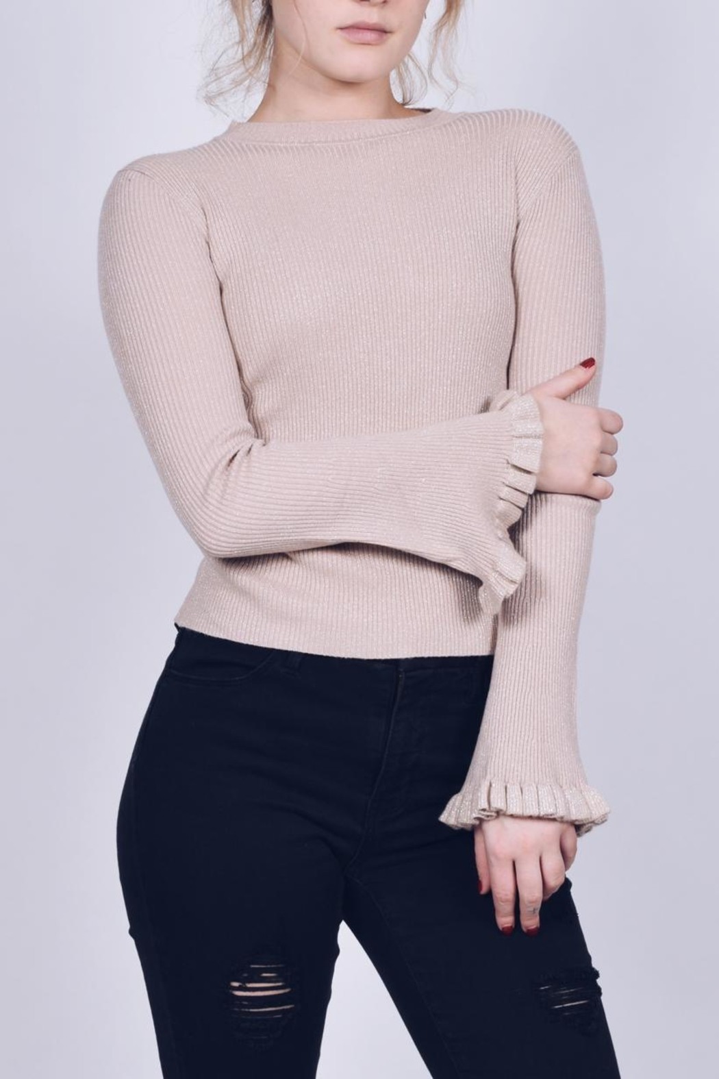 Q2 Ruffle Sleeve Sweater - Front Full Image