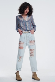 Q2 Super Ripped Boyfriend Jeans - Front cropped