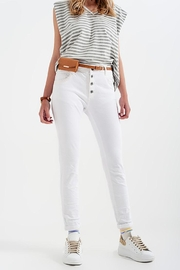 Q2 White Boyfriend Pants With Sequin Pocket Detail - Front full body
