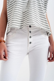 Q2 White Boyfriend Pants With Sequin Pocket Detail - Other