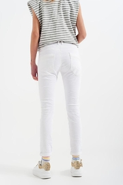 Q2 White Boyfriend Pants With Sequin Pocket Detail - Side cropped