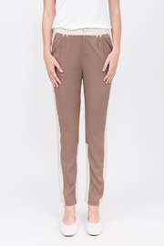 Qi Cashmere Brown Leg Detail Pant - Product Mini Image