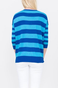 Qi Cashmere Striped V-Neck Pullover - Alternate List Image