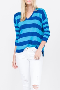 Qi Cashmere Striped V-Neck Pullover - Product List Image