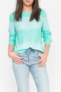 Qi Cashmere Sequin Stripe Crew Sweater - Product List Image
