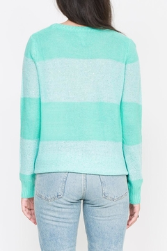 Qi Cashmere Sequin Stripe Crew Sweater - Alternate List Image