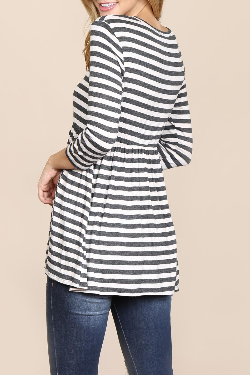 Riah Fashion Quarter-Sleeve Babydoll-Striped-Tunic - Back Cropped Image