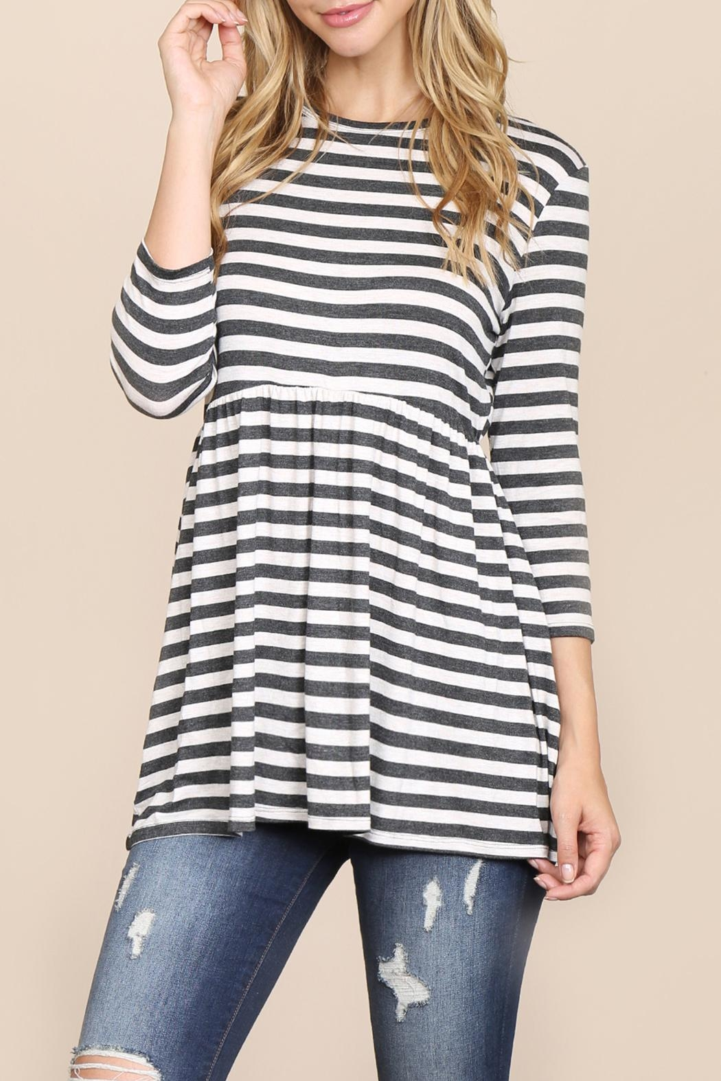 Riah Fashion Quarter-Sleeve Babydoll-Striped-Tunic - Main Image