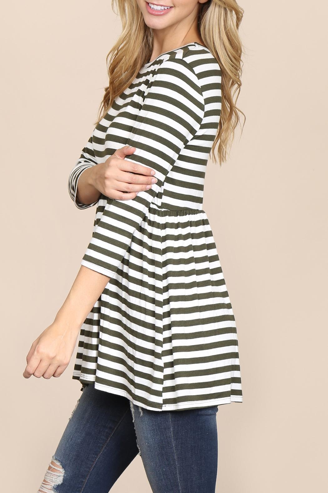 Riah Fashion Quarter-Sleeve Babydoll-Striped-Tunic - Front Full Image