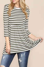 Riah Fashion Quarter-Sleeve Babydoll-Striped-Tunic - Front cropped