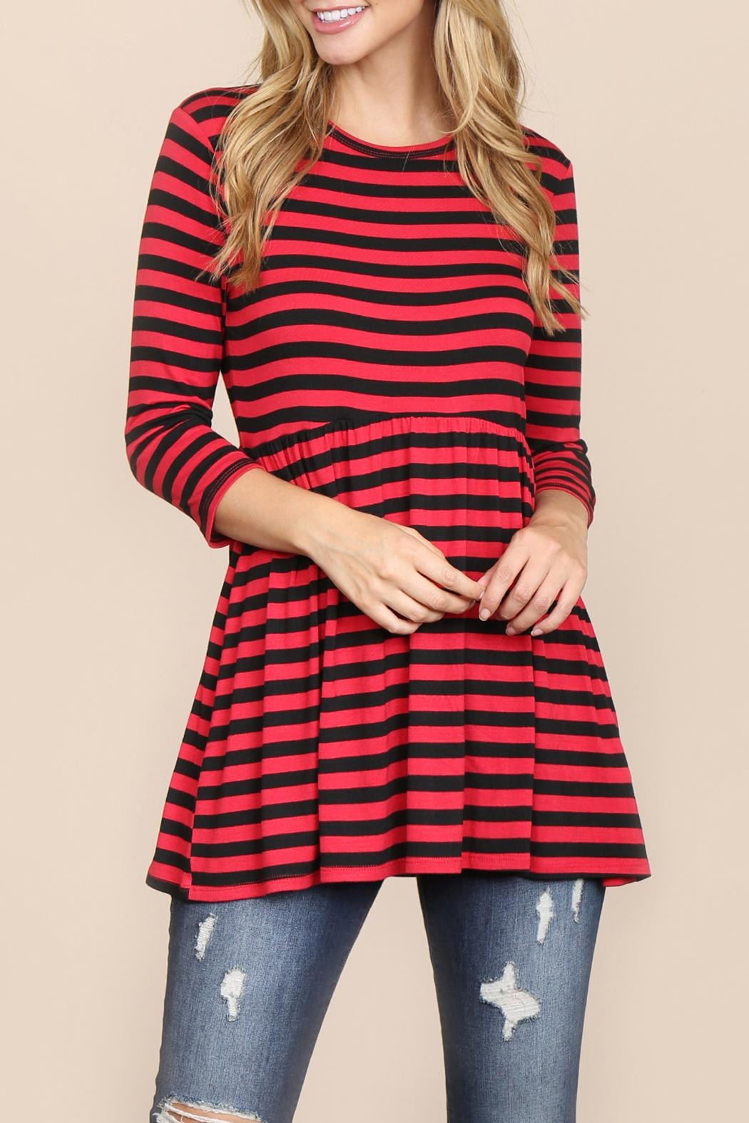 Riah Fashion Quarter-Sleeve Babydoll-Striped-Tunic - Front Cropped Image