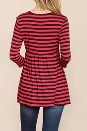 Riah Fashion Quarter-Sleeve Babydoll-Striped-Tunic - Side cropped