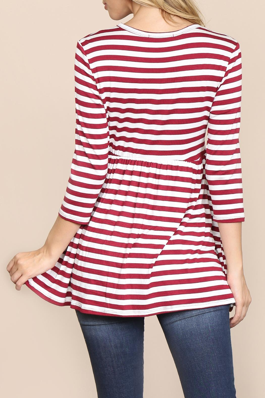 Riah Fashion Quarter-Sleeve Babydoll-Striped-Tunic - Side Cropped Image