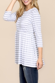 Riah Fashion Quarter-Sleeve Babydoll-Striped-Tunic - Front full body