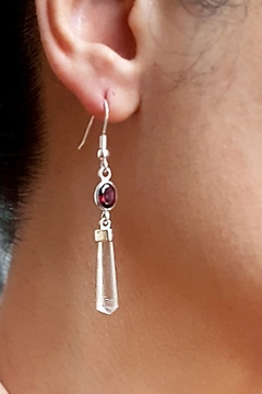 Crystal Earth Quartz Crystal Earrings with Garnet - Alternate List Image