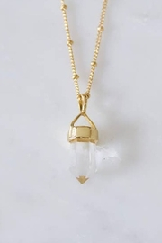 Mesa Blue Quartz Crystal Point Long Necklace - Front full body