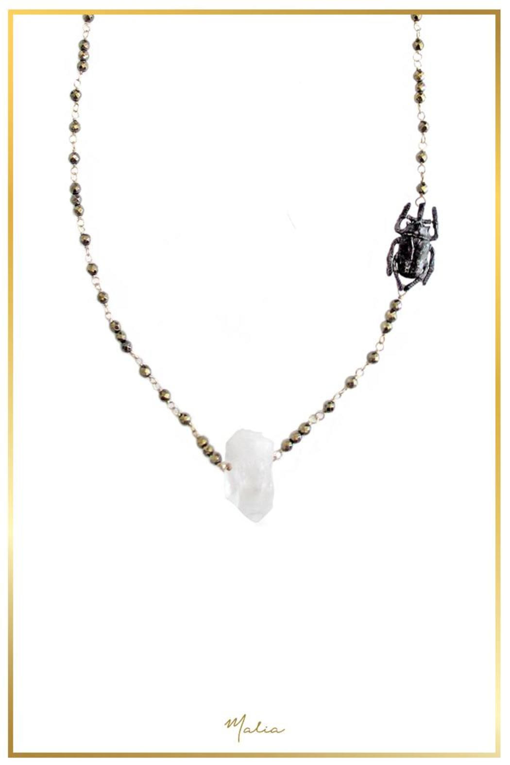 Malia Jewelry Quartz-Hematite Beetle Necklace - Front Cropped Image