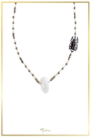 Malia Jewelry Quartz-Hematite Beetle Necklace - Front cropped