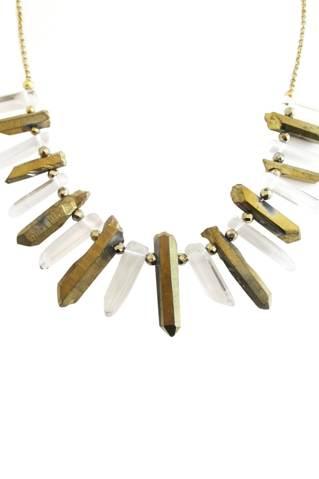 Malia Jewelry Quartz Pyrite Necklace - Front Full Image