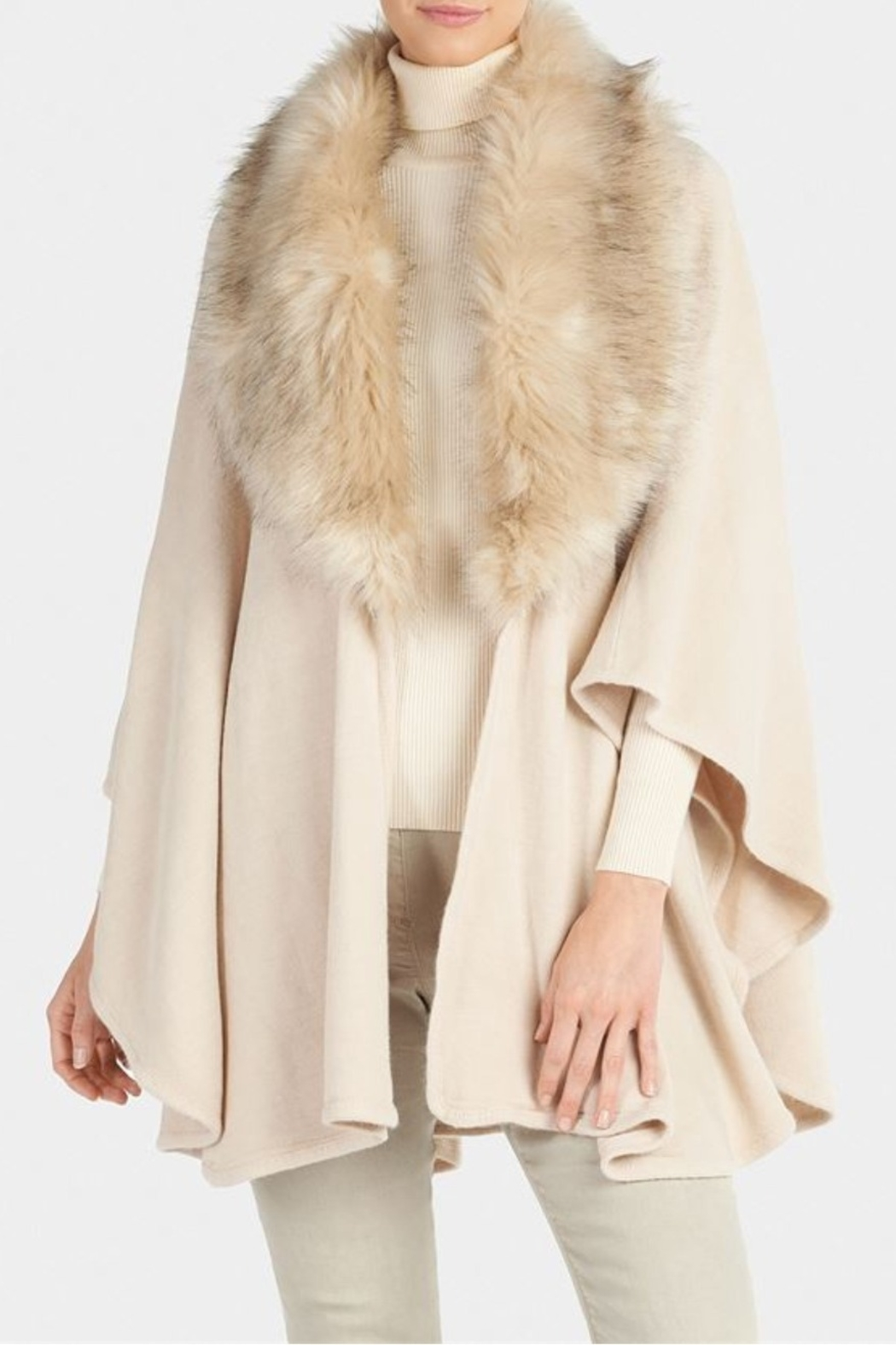 Coco + Carmen Quebec Faux Fur Ruana - Front Cropped Image