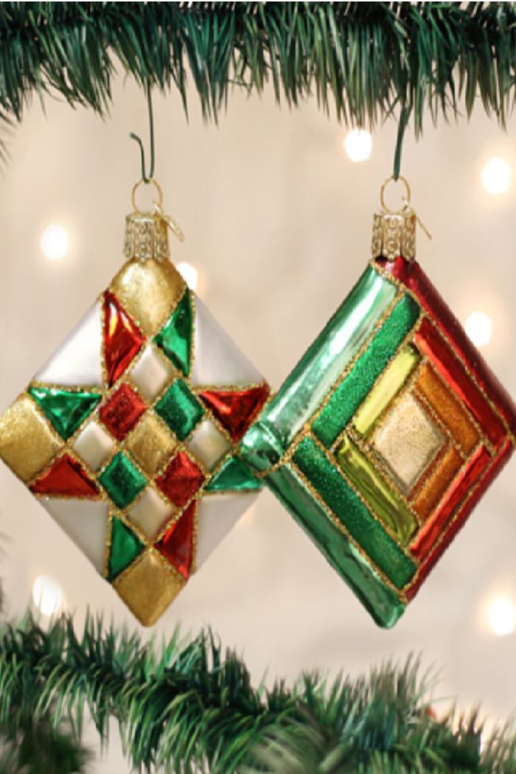 Old World Christmas Quilt Squares Ornaments - Main Image
