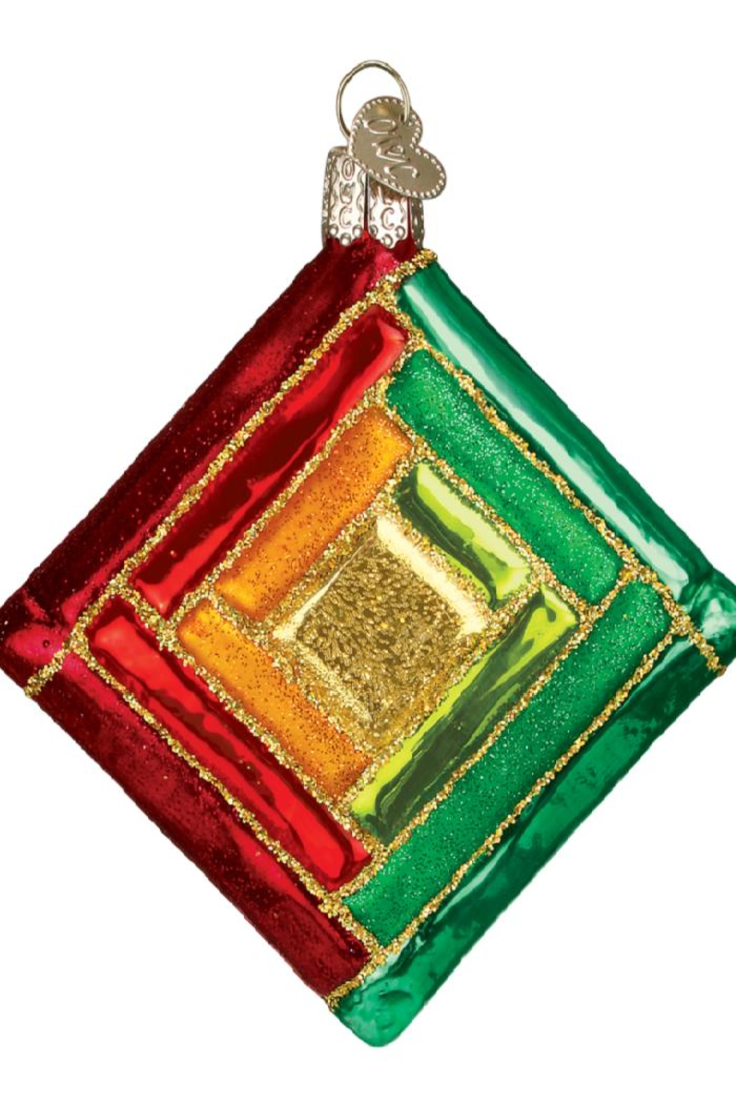 Old World Christmas Quilt Squares Ornaments - Front Full Image