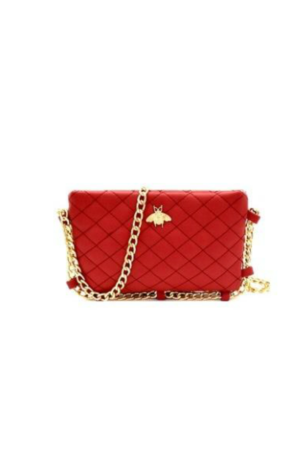 Gift Girl Quilted bee crossbody with gold chain strap - Front Cropped Image 963572194e