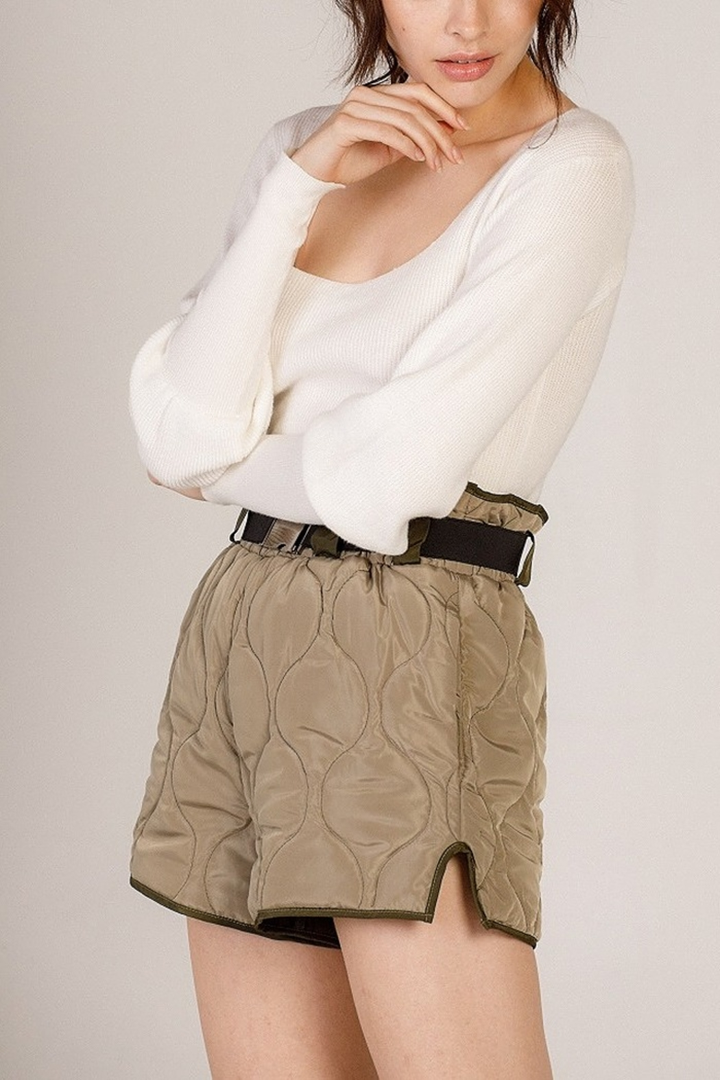 Moodie Quilted Belted Shorts - Back Cropped Image
