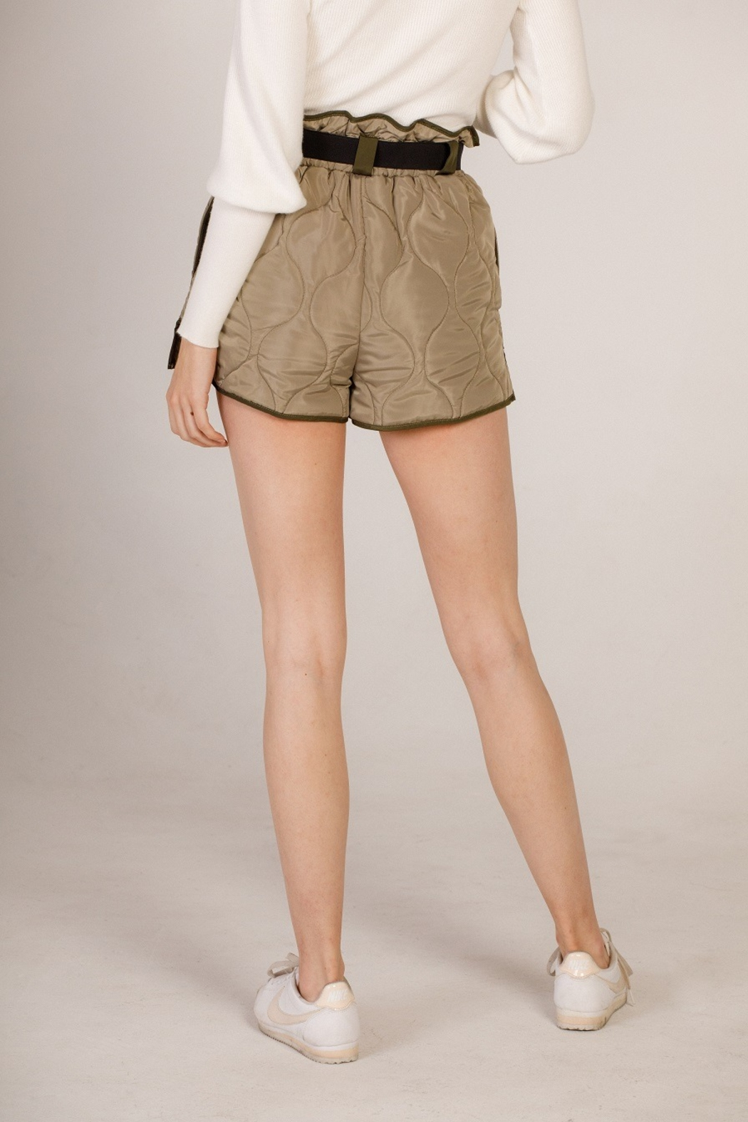 Moodie Quilted Belted Shorts - Front Full Image
