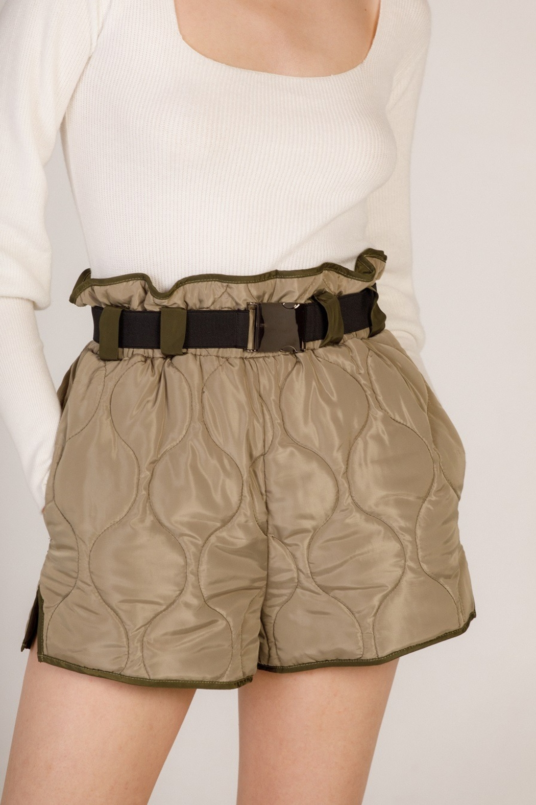 Moodie Quilted Belted Shorts - Main Image
